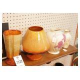 Vases on Shelf  4 Pc Pottery & Ceramic