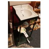 Small Porcelain Sink on Metal Stand