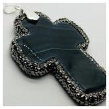 Sterling Silver Agate Pendant w/fashion cord