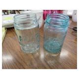 2 Blue Mason Jars