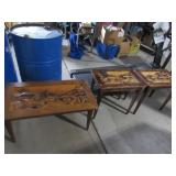 (3) Carved Tables