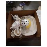 Box of serving tray cookie jar and miscellaneous