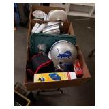Box  Of signed football helmet and miscellaneous