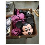 Box of Mickey Mouse lunchbox and shoes