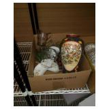 Box of painted vase and miscellaneous