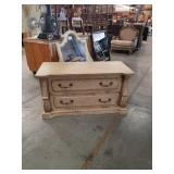 Cream color TV stand with drawers
