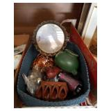Basket of perfume tray and figurines