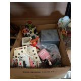 Box of figurines and plain cards