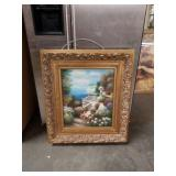 Nicely framed floral ocean view painting