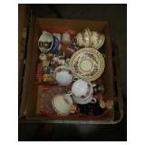 Box of tea cups and miscellaneous