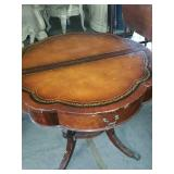 Mahogany leather top table