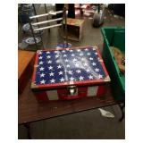Tub of stars and stripes case with art supplies