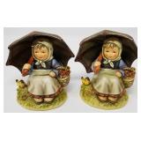 Pair of girl with umbrella Hummel figurines