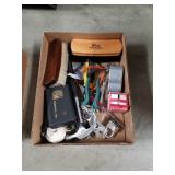 Box of tools and shoe brushes