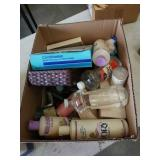 Box of shampoos etc