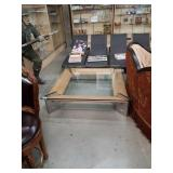 Large modern glass top coffee table
