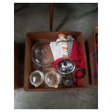 Box Of coffee press and kitchen linen