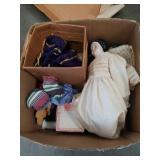 Box of dolls, rocks etc