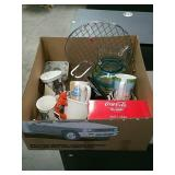 Box of misc glass and coca colla item