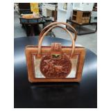 Leather bull fighter insignia purse