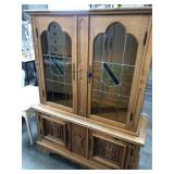 2 pc carved wooden china cabinet with stained
