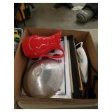 Box of iron, jar, pictures etc