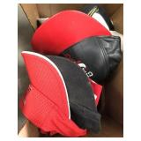 Box of misc sports hats/visors/ angels & Chicago