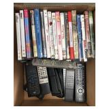 Box of dvds/remotes
