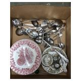 Box of plates and some silver