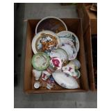 Box of miscellaneous tea sets and collector plates