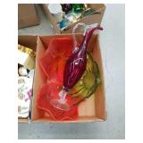 Box of colored glass bowls
