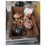 Box of alabaster liquor set and miscellaneous