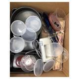 Box of nonstick bread pans cake sheets mixer etc.