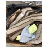 Box of Bath mats and handbags