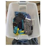 Tub of table linen clothes, ties and bag