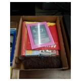 Box of paper goods and photo albums