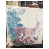 Ocean life watercolor print with certificate of