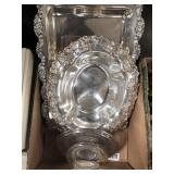 Silver plated serving dishes and plates
