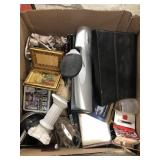 Box of frames keyboard whole puncher etc