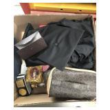 Box of cap & gown, frames, Gucci glasses case etc