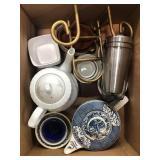 Box of tea kettles, bowls