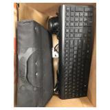 Box with cd holder, keyboard, hairdryer etc