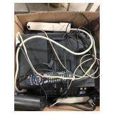 Box with all in one printer, cords & remote etc