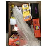 Box of misc cleaning products, Raid fogged, food