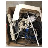 Box of misc cords, cable box, step stool etc