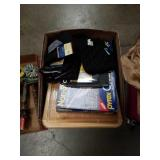 Box of kitchen cutting hards and linen