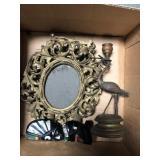 Box of antique metal frames, antique crane c