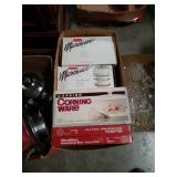 Box of microwave cookware and Corning ware