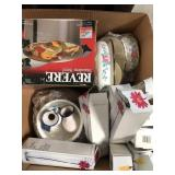 Box of vases, misc cookware