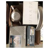 Box with teapots, serving trays & mixer